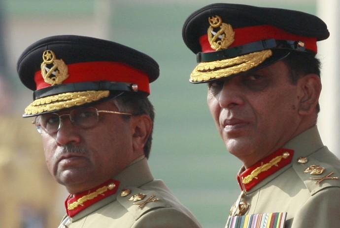 Pakistan's former President Pervez Musharraf (L)