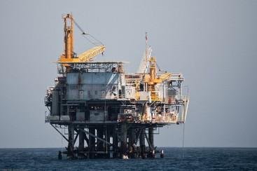 Oil Drilling Platform in the Santa Barbara CA Channel.