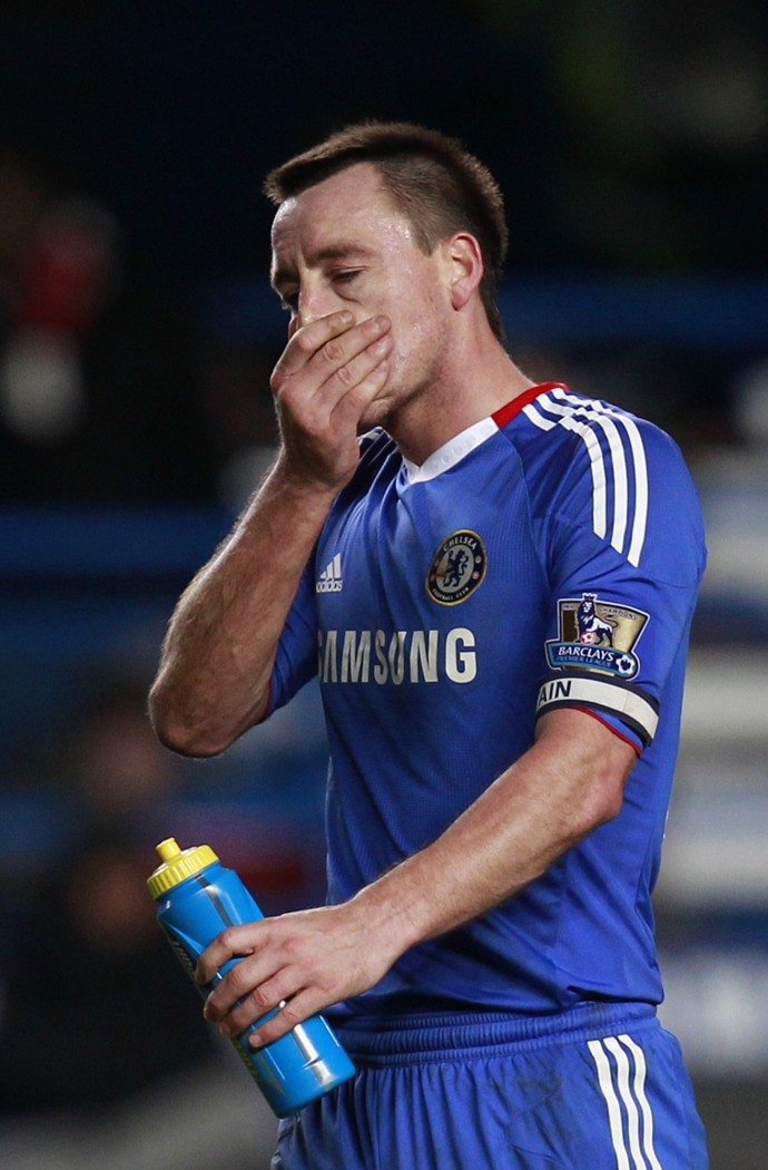 Chelsea's John Terry reacts after their English Premier League soccer match against Everton in London.