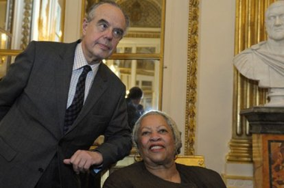 U.S. author Morrison poses with French Culture Minister Mitterrand after she was awarded the Officer de la Legion d'Honneur, the Legion of Honour during a ceremony at the Culture Ministry in Paris