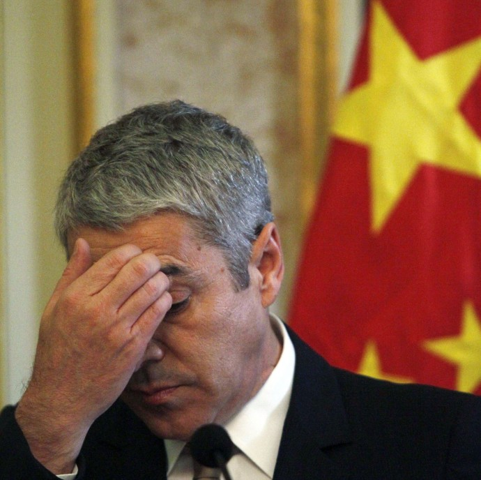 Portugal's Prime Minister Jose Socrates gestures during a meeting with China's President Hu Jintao at Necessidades Palace