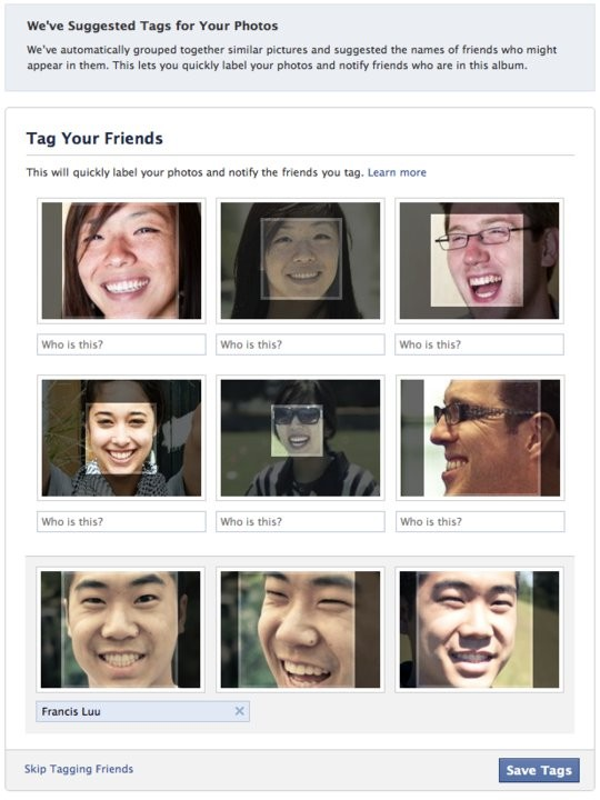 Facebook's facial recognition technology