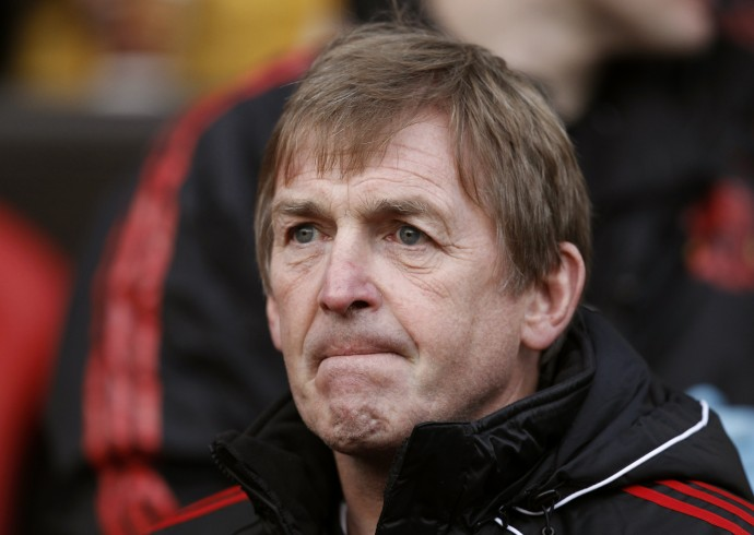 Liverpool's manager Dalglish at the FA Cup soccer match against Manchester United at Old Trafford in Manchester, northern England.