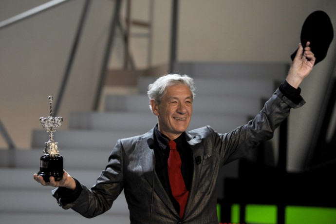 British actor Mckellen receives the Premio Donostia lifetime achievement award at the Kursaal theatre on the sixth day of the 57th San Sebastian Film Festival.