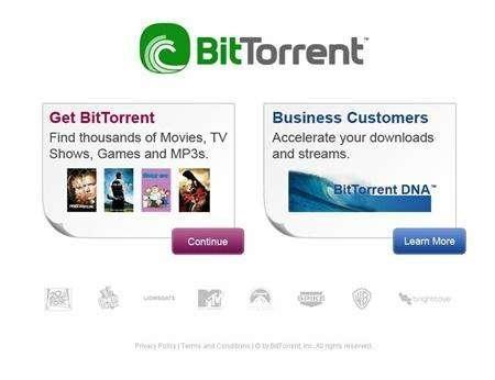 A screen grab of BitTorrent.com