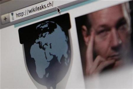 A screen shot of a web browser displaying the WikiLeaks website with a picture of its founder Julian Assange in Bern