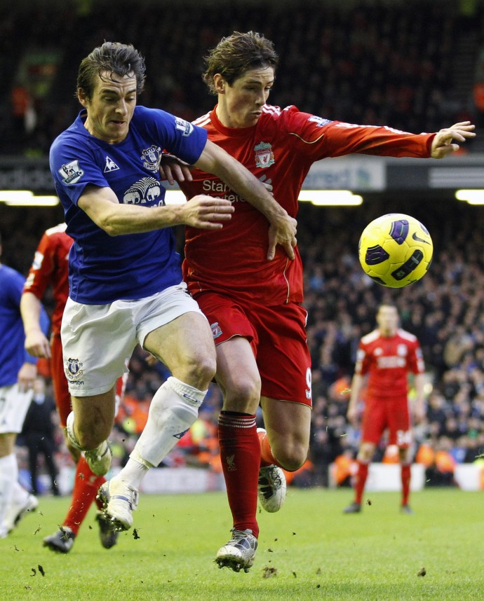 Everton's Baines challenges Liverpool's Torres during their English Premier League soccer match in Liverpool.