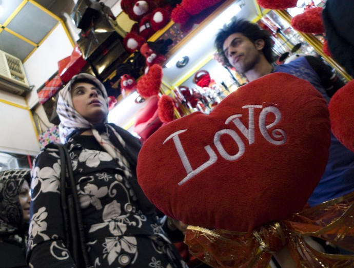 An Iranian woman looks for Valentine's day gifts