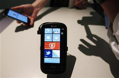 The new Windows Phone 7 is seen at the Windows Phone 7 launch news conference in New York
