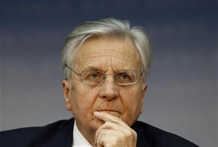 Trichet President of the European Central Bank addresses the media during his monthly news confrence at the ECB headquarter in Frankfurt