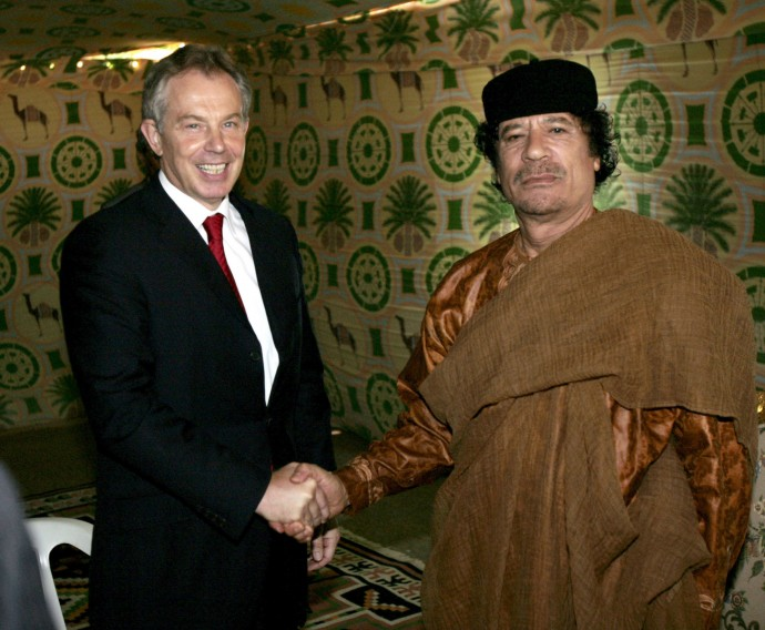 Col. Gaddafi of Libya, seen here with British Prime Minister Tony Blair is described as vain by British diplomats