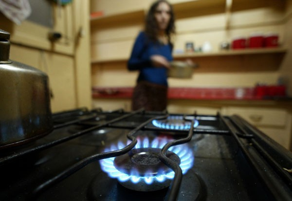 Natural gas burns in a stove