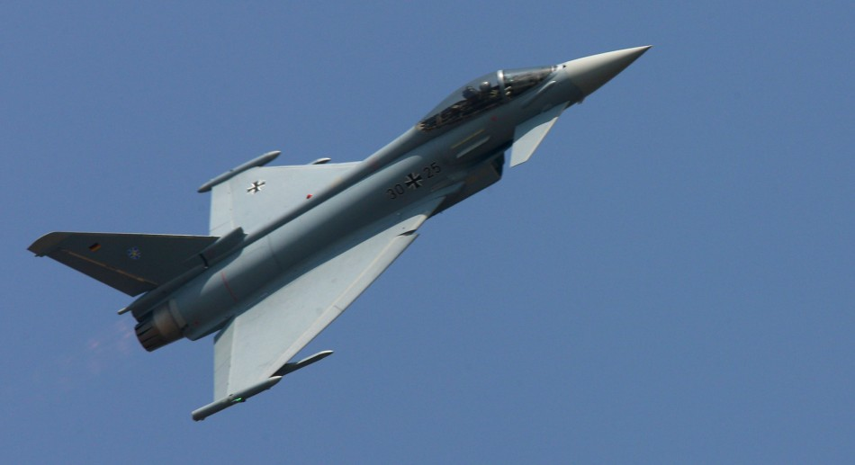 A Eurofighter Typhoon aircraft performs at Yelahanka air force station