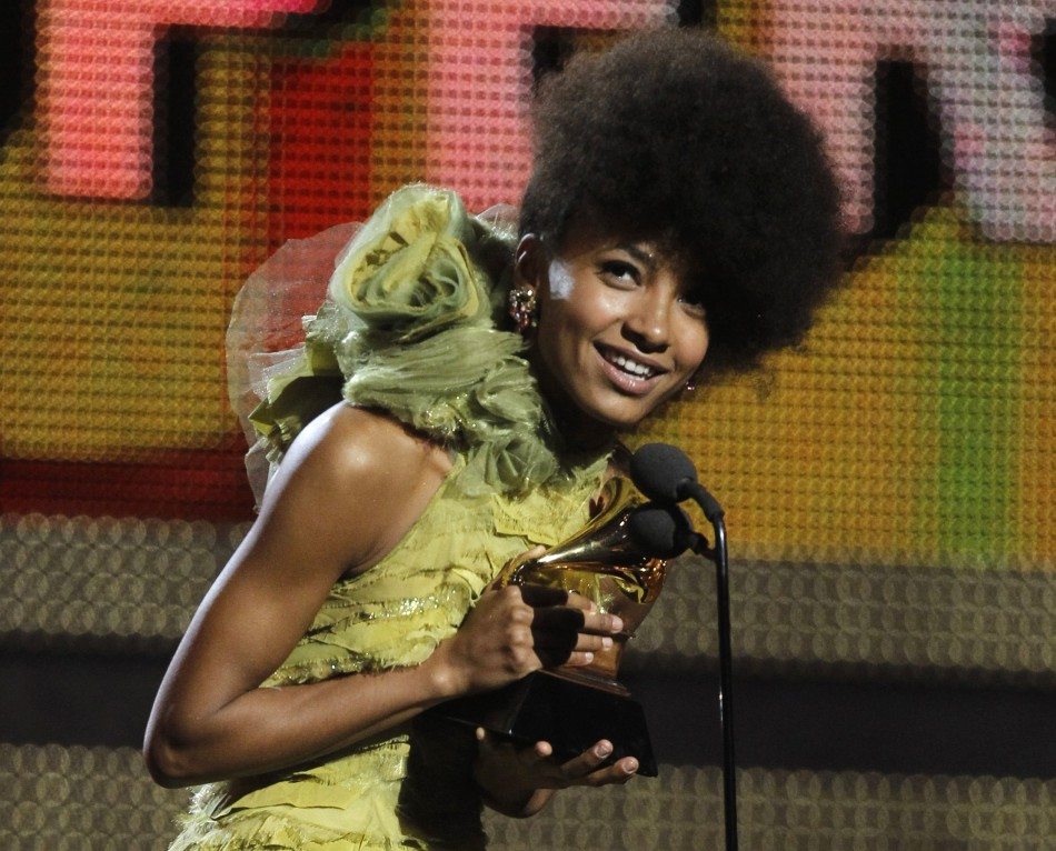 Jazz singer and bassist Esperanza Spalding accepts an award at the 53rd annual Grammy Awards in Los Angeles