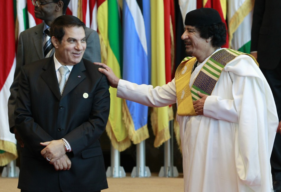 Tunisia's President Ben Ali meets Libya's leader Muammar Gaddafi during an EU-Africa summit in Tripoli