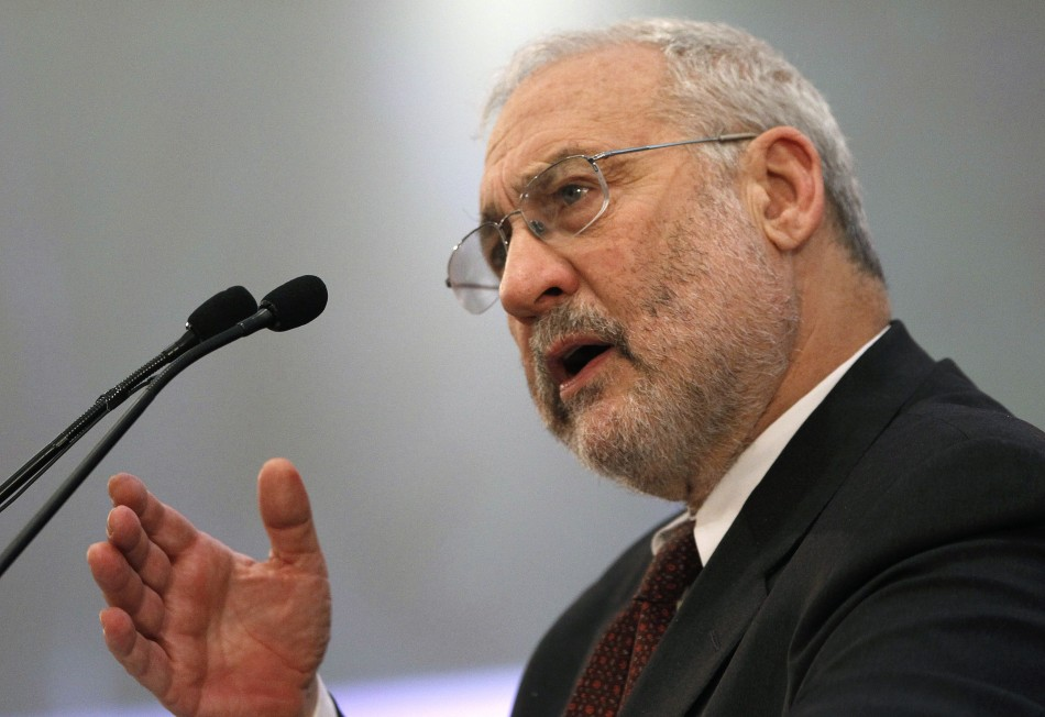 Nobel-prize winning economist Joseph Stiglitz delivers a speech during an economic conference in Athens
