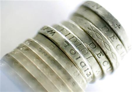 A pile of sterling coins