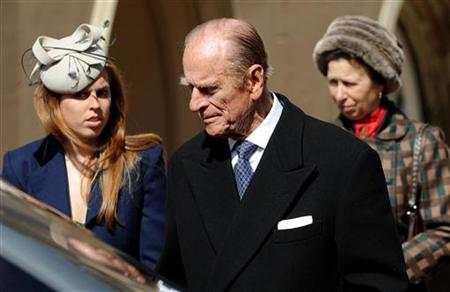 Prince Philip, the Duke of Edinburgh (C), Princess Beatrice (L) and Princess Anne, Princess Royal leave after attending an Easter Sunday church service in Windsor on April 4, 2010.