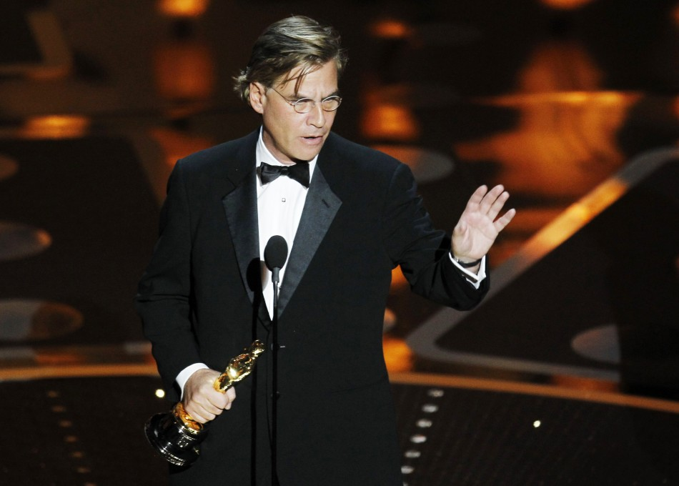 Aaron Sorkin wins the Oscar for best adapted screenplay for the film 'The Social Network' during the 83rd Academy Awards in Hollywood, California, February 27, 2011.