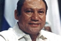 File photo of Panamanian strongman Manuel Noriega taking part in a conference in Panama City
