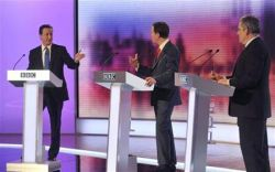 Britain's opposition Conservative Party leader Cameron, Liberal Democrat leader Clegg and PM Brown debate in Birmingham
