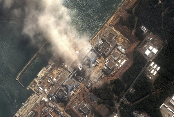 Handout satellite image of Fukushima Daiichi nuclear plant after earthquake and tsunami