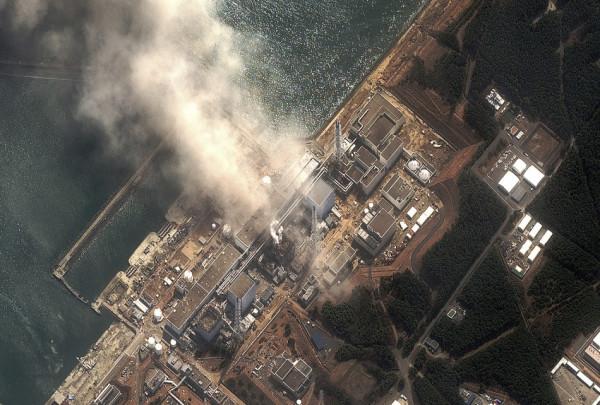 Handout satellite image of Fukushima Daiichi nuclear plant after earthquake and tsunami