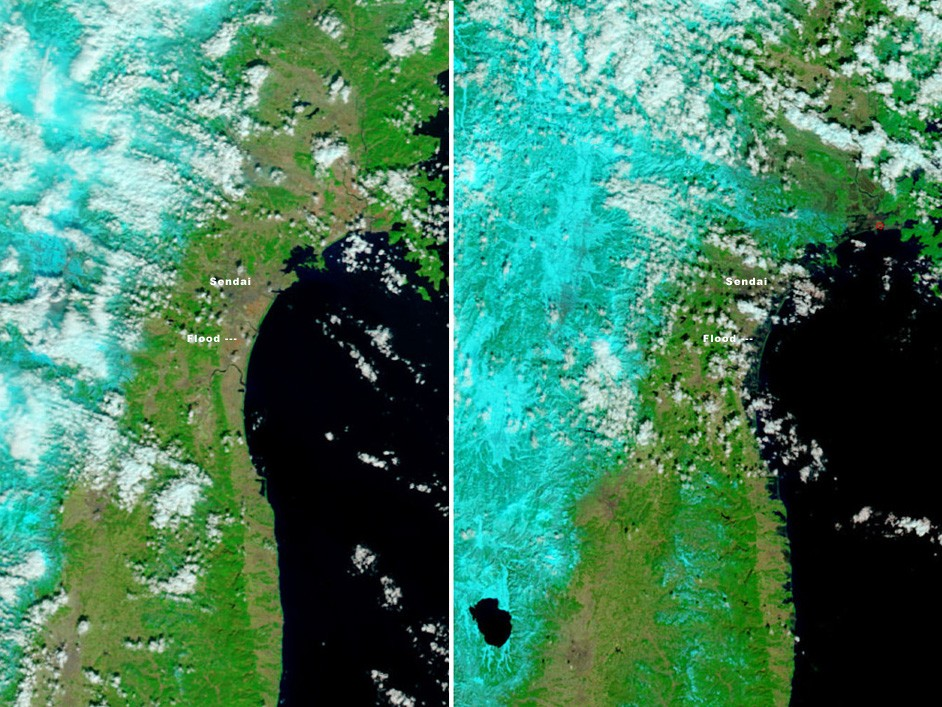 Photographs of Japan earthquake and tsunami from out of space