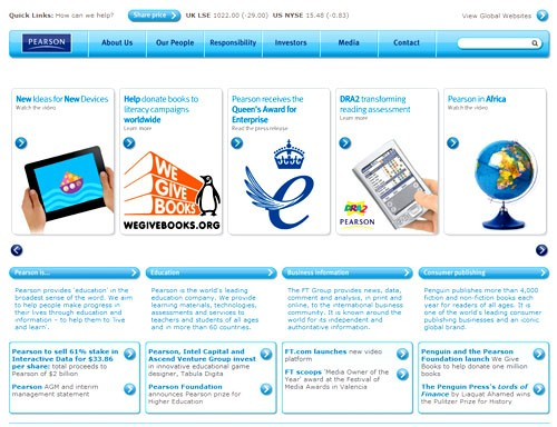 Corporate homepage of Pearson PLC