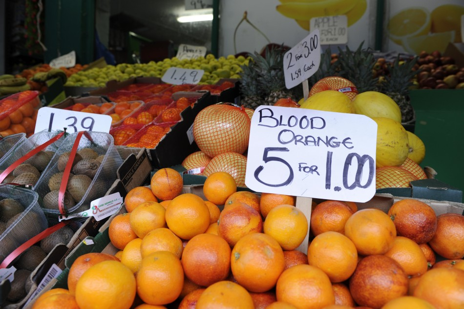 Fruit and vegetables are displayed for sale outside a shop in east London.