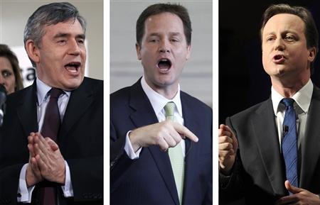 A combination photograph shows Prime Minister Brown; Liberal Democrat leader Clegg and Conservative Party leader Cameron