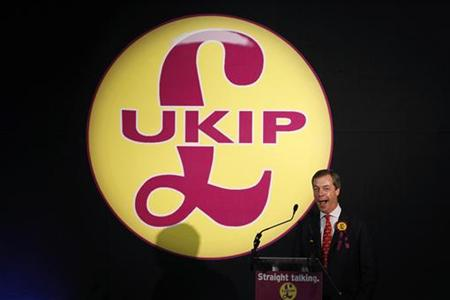 United Kingdom Independence Party MEP Nigel Farage delivers his speech at the party's spring conference in Milton Keynes
