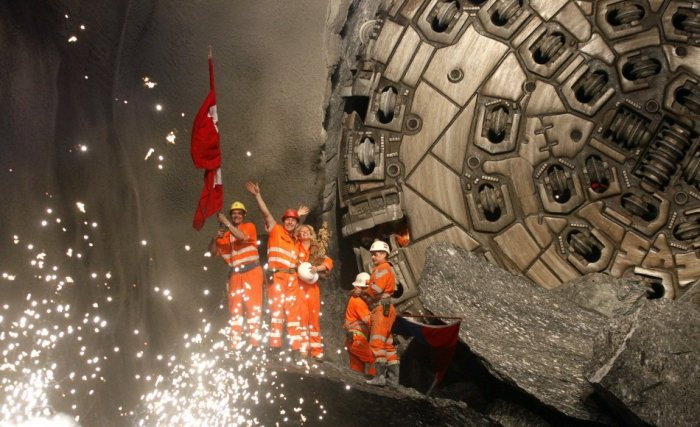 World's Longest Train Tunnel Breakthrough