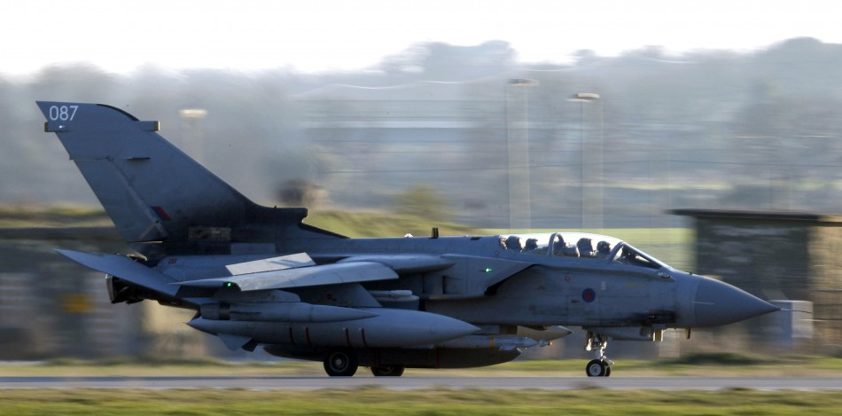 A British Royal Air Force (RAF) Tornado aircraft lands at the Gioia del Colle NATO Airbase in southern Italy