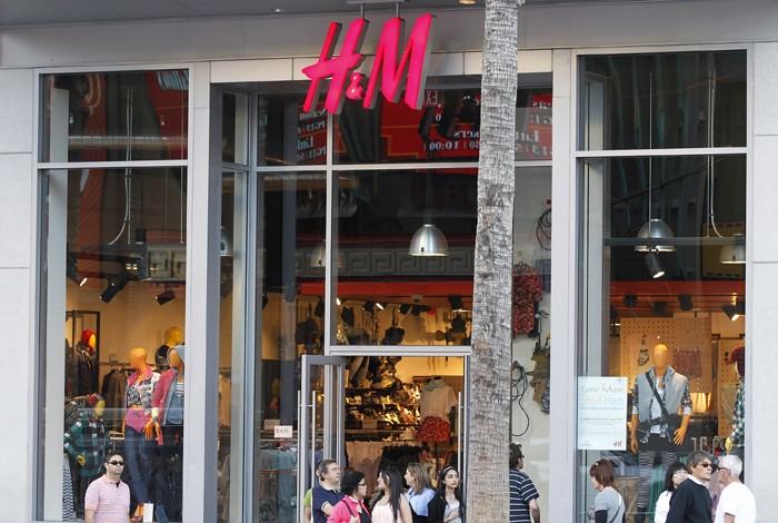 An H&M clothing store is pictured in Hollywood