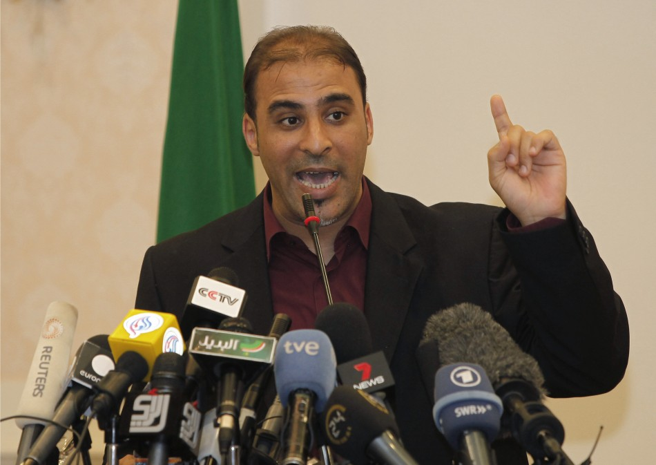 Moussa Ibrahim, a Libyan government spokesman, holds a news conference in Tripoli
