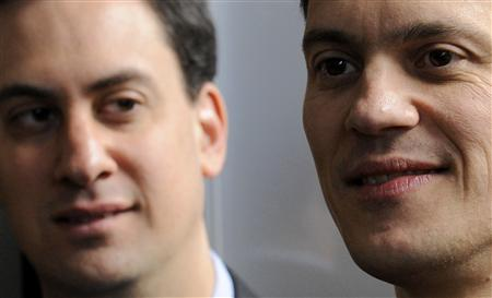File photo of Miliband brothers at the unveiling of an election poster-van design at Basildon