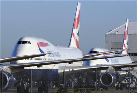 File photograph shows British Airways aircraft parked at Heathrow Airport in west London
