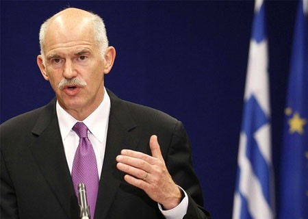 Greece's Prime Minister George Papandreou  holds a news conference after a Euro Zone leaders summit in Brussels, May 8, 2010