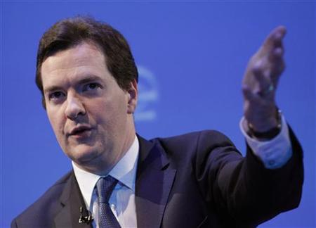 Britain's opposition Conservative Party economics spokesman Osborne addresses the Institute of Directors IOD annual convention at the Albert Hall in London