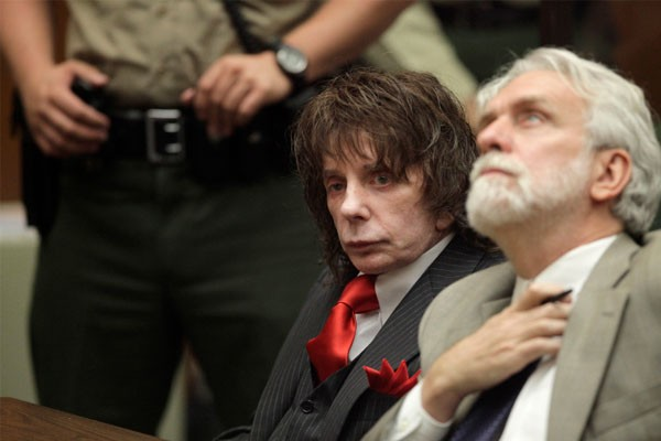 Music producer Phil Spector (L) sits in court with his attorney Dennis Riordan at the Los Angeles Superior Court, during his sentencing for the February 2003 shooting death of actress Lana Clarkson May 29, 2009