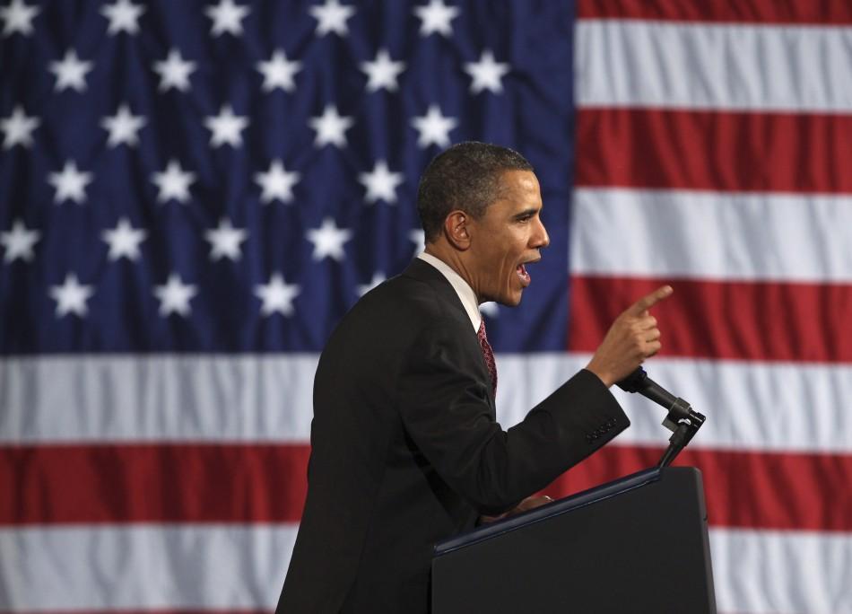 U.S. President Barack Obama delivers remarks at a Democratic Party fundraiser in Chicago April 14, 2011.