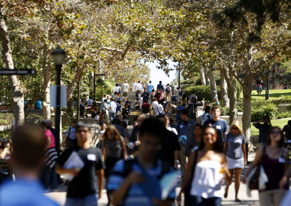 Students walk in the University of California Los Angeles (UCLA) campus