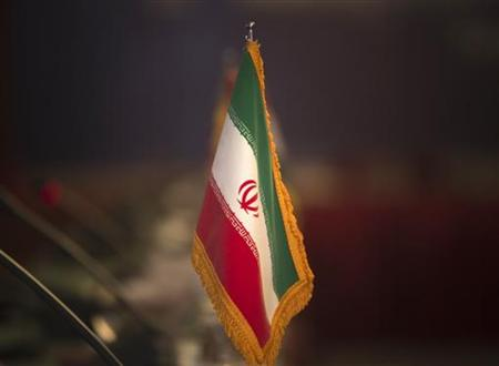 Iranian flag is pictured before opening of 32nd Meeting of Ministers of Foreign Affairs of G-15, in Tehran