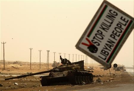 A Gaddafi forces tank, destroyed by NATO air strikes