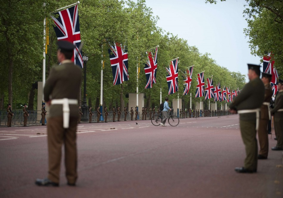 Brit armed forces participate in a rehearsal for royal wedding