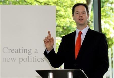 Deputy Prime Minister Clegg delivers a speech setting out the government's plans for political reform in London