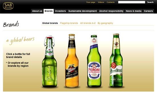 Images of SABMiller beer brands shown on corporate website