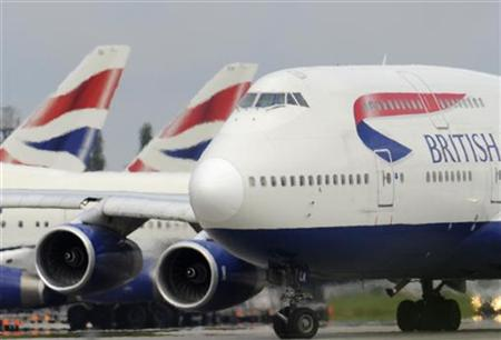 A British Airways aircraft taxis at Heathrow Airport in west London
