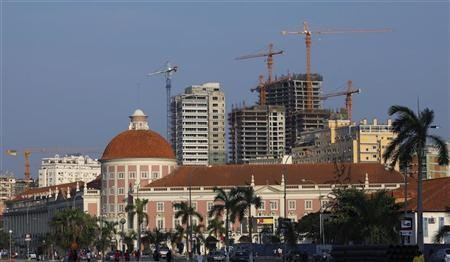 File photo of office blocks under construction behind the Angolan central bank building in the capital Luanda
